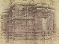 Close view of façade of back of shrine of the Brahmeshvara Tremple, Bhubaneshwar